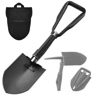 iunio Military Folding Shovel, Foldable Entrenching Tool, Collapsible E-Tool, Portable Camping Multi-Tool, with Tri-Fold Handle for Backpacking, Gardening, Hiking, Survival, Car Emergency (23 inches)