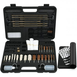 iunio Universal Gun Cleaning Kit for All Guns, Rifle, Shotgun, Handgun, Pistol, Hunting, Shooting, All Caliber, with Mat and Carrying Case - Black