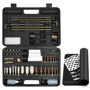 iunio Universal Gun Cleaning Kit for All Guns, Rifle, Shotgun, Handgun, Pistol, Hunting, Shooting, All Caliber, with Mat and Carrying Case - Black Upgrade