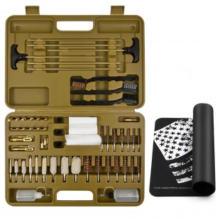 IUNIO Universal Gun Cleaning Kit Supplies Solid Brass Rods Jags Slotted Tips Bore Mop Brush Handgun Shotgun Muzzle Loader Pistol Firearm Cleaning use After Hunting Shooting All Caliber