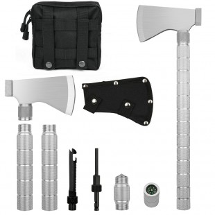 IUNIO Camping Axe Multi-Tool Hatchet Survival Kit 17 inch Folding Portable Camp Ax for Outdoor Hiking Backpacking Hunting Emergency (Silver with Bag)
