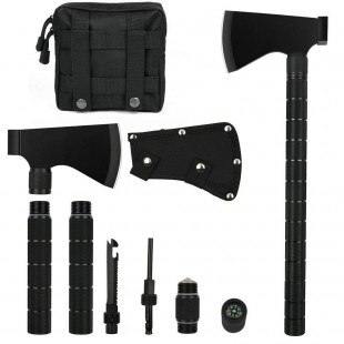 Camping Axe Multi-Tool Hatchet Survival Kit Tactical Tomahawk Folding Portable Camp Ax Sheath Hammer Compass Flint Whistle Carrying Molle Bag Outdoor Hiking Camping Hunting Emergency Featured Tomahawk