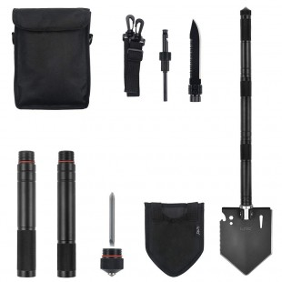 IUNIO Military Portable Folding Shovel [28 inch Length] with Carrying Pouch Army Surplus Multitool Tactical Spade for Camping Hiking Hunting Backpacking Entrenching Car Emergency
