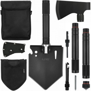 iunio Folding Shovel and Camping Axe Tool Kit, with Carrying Bag, Multitool Spade, Survival Hatchet for Camping, Hiking, Backpacking, Entrenching, Car Emergency